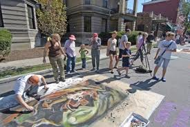 Crowd Gathers around Streetscapes Artist